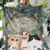 Personalized Cute Cats Life Is Better With Cats Floral Fleece Blanket, Cats Kitten Blanket, Home & Living