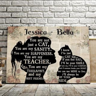 Personalized You Are Not Just A Cat You Are My Best Friend 0.75 & 1,5 Framed Canvas - Customized With Names- Home Living- Wall Decor