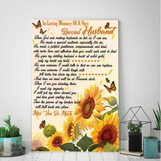 Sunflower In Loving Memory Of A Very Special Husband 0.75 &1,5 Framed Canvas -Memorial Canvas- Anniversary Gifts- Home Decor,Wall Art