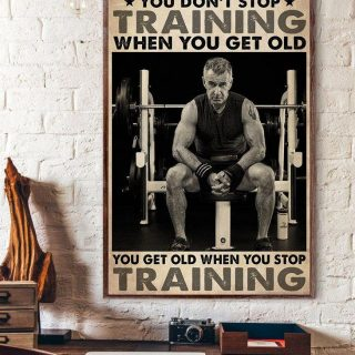 Weightlifting You Don't Stop Training When You Get Old Vintage Canvas, Old Gymer, Gift For Grandpa, Dad, Wall Art