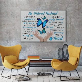 My Beloved Husband You Are Always In My Heart 0.75 & 1,5 Framed Canvas- Anniversary Gifts- Home Decor- Canvas Wall Art