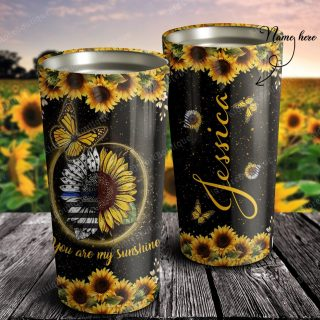 Personalized Police Butterfly and Sunflower You Are My Sunshine Tumbler - Travel Mug- Best Family Gift