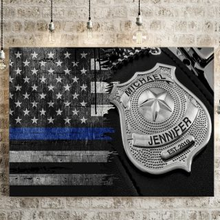 Personalized Police Badge American Flag Premium Canvas, Back The Blue, Family Canvas, Police Wife Proud Canvas, Family Gift, Wall Art