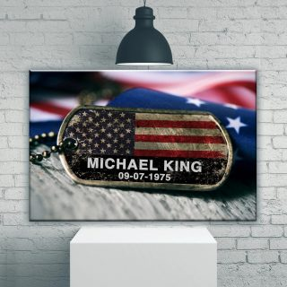 Personalized Veteran Name Premium Canvas, Veteran Canvas, American Army, Soldier Gift Canvas, Wall Art