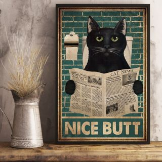 Cat Saying Nice Butt Canvas, Bathroom Sign Decor, For Cat Lovers
