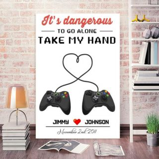 Custom It's Dangerous To Go Alone Take My Hand Canvas, Game Controller, Game, Gaming Couple, Anniversary Gift, Valentine's Day Gift, Home A