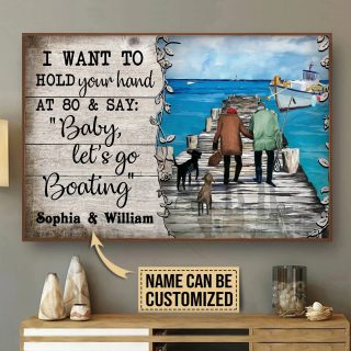 Personalized Couple Boating Fishing Hold Your Hand Anniversary Gift, Valentine's Day Gift