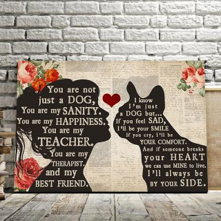 Personalized Girl Loves French Bulldog – You Are Not Just A Dog, You Are My Sanity 0.75 & 1,5 Framed Canvas - Home Living- Wall Decor