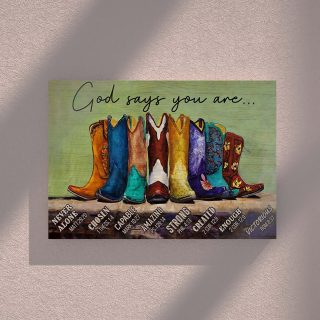 The Cowboy Shoe- God Say You Are 0.75 & 1,5 Framed Canvas -Farmer Gifts - Home Living- Wall Decor