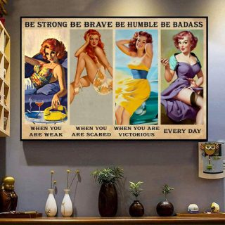 Redhead Be Strong Be Brave Be Humble Be Badass Every Day Vintage Canvas, Redhead Canvas, Gift For Redhead, Wall Art Decor
