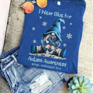 Gnome I Wear Blue For Autism Awareness Shirt, Autism Awareness Blue Ribbon Shirt