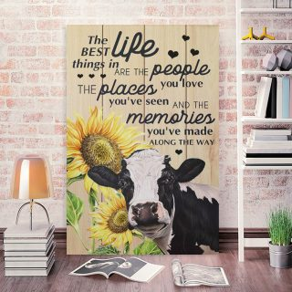 Cow and Sunflower Canvas Prints The Best Things In Life 0.75 & 1,5 Framed Canvas- Farmer Gifts -Canvas Wall Art -Home Decor