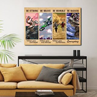 Motocross Performance - Be Strong When You Are Weak, Be Brave When You Are Scared 0.75 & 1,5 Framed Canvas - Home Decor -Wall Art
