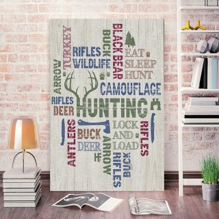 All About Hunting 0.75 & 1,5 Framed Canvas -Housewarming Gifts -Home Decor- Wall Art