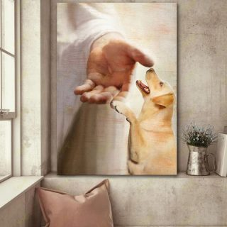God Reaching Out- Take My Hand Dog Canvas, Custom Dog Breeds Canvas, God Hand, Dog Canvas, Memorial Gift Canvas, Wall Art