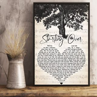 Starting Over Heart Script- Let's Take Our Chances And Roll The Rice Tree Life Vintage Canvas, Song Lyrics Inspired Art Canvas, Wall Art