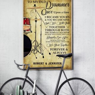 Personalized To My Old Drummer Vintage Canvas, Drum Canvas, Music Lover Canvas, Couple Gift, Couple Canvas, Husband And Wife, Gift For Husb