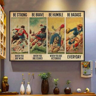 Rugby Football- Be Strong Be Brave Be Humble Be Badass Vintage Canvas, Rugby Canvas, Gift For Son, Birthday Gift, Wall Art
