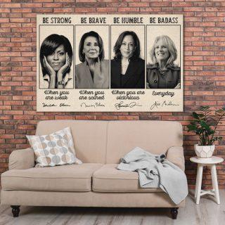 Powerful Women In The White House Inauguration Inspired Canvas, Michelle Obama, Kamala Harris, Dr. Jill Biden Nancy Pelosi Canvas, Feminism