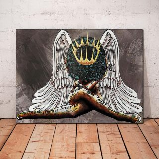 African American Angel- Afro Woman Painting for Living Room, Bedroom 0.75 and 1,5 Framed Canvas - Family Print, Home Wall Decor