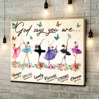 Ballet Dancers- God Says You Are Unique Butterfly Vintage Canvas, Ballet Dancing Canvas, Gift For Daughter, Gift For Her, Birthday Gift, Wa