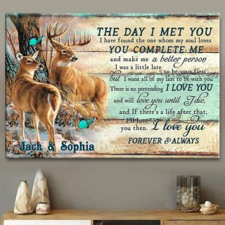 Deer Hunting The Day I Met You You Complete Me Canvas, Anniversary Gift, Valentine's Day Gift